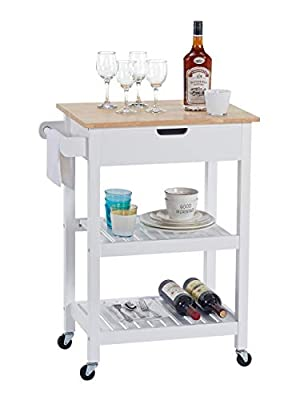 Linio-home Wood Rolling Cart Kitchen Storage Cart, Small Moveable Wine/Microwave Cart, Rolling Kitchen Island Baker's Rack Utility Oven Stand Storage Cart with Wood Top Storage Cabinet Drawer, White from
