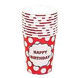 Alien Storehouse Weißes Punktmuster 40 Counts Wasser Pappbecher Einwegbecher für Büro/Zuhause, Rot, A01