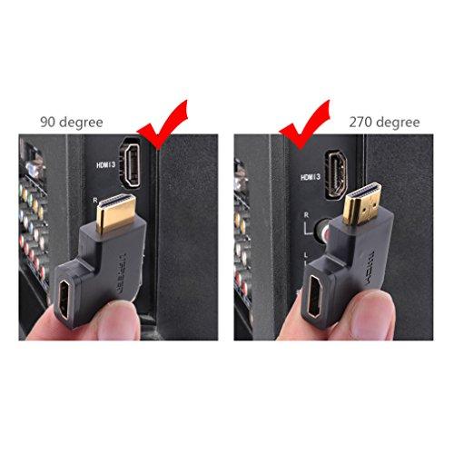 UGREEN HDMI Adapter Winkel Full HD 270 Grad und 90 Grad HDMI Stecker auf Buchse Konverter 4K HDMI Verbinder mit vergoldete Kontakte für TV Stick, HDTV, Google Chromecast, PS4 / PS3, Display usw. Schwarz