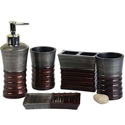 FABAX duurzame badkamerset 5-delige badkameraccessoireset van hars zeepschaal shampoo zeepdispenser tandenborstelhouder Tumbler Grijs Bad Accessoires