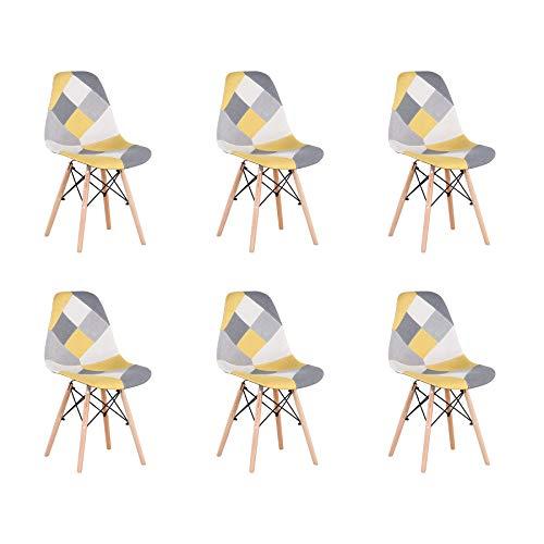 BenyLed Lot de 6 Chaises de Salle à Manger Rétro Patchwork Chaise Tissu Salle à Manger Chaise pour Cuisine Salle à Manger (Jaune-6pcs)