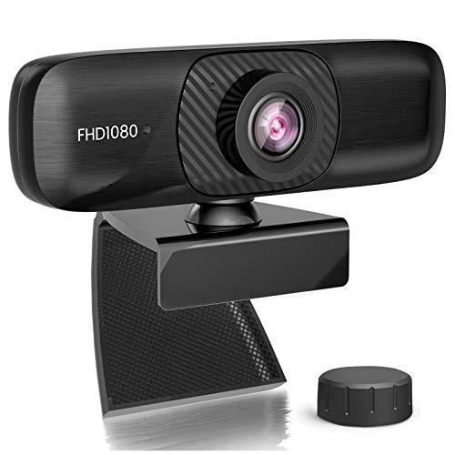Webcam 1080p Full HD mit Stereo-Mikrofon, Web-Kamera für Videochat und Aufnahme, kompatibel mit Windows, Mac und Android