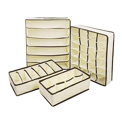 PULABOUnderwear - Set di 4 divisori pieghevoli per armadio, per vestiti, biancheria intima, collo, cravatte, calzini, reggiseni, colore: Beige