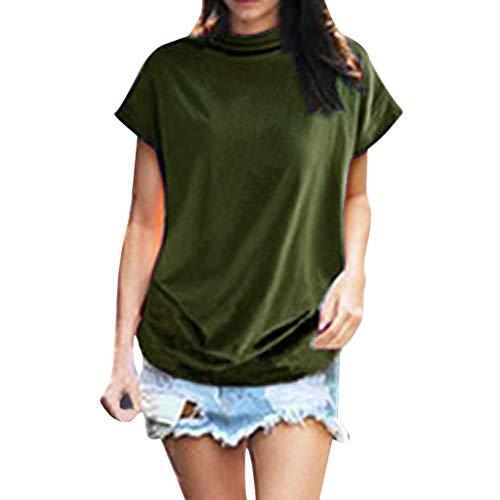 iHENGH Damen Top Bluse Bequem Lässig Mode T-Shirt Frühling Sommer Blusen Frauen Rollkragen Kurzarm Baumwolle Solide Casual Top(Armeegrün, L)