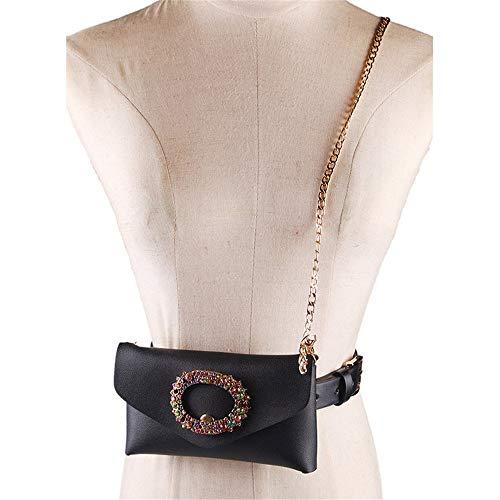 Bolso de la cintura de las mujeres Bolso de las mujeres Cinturón Bolsas Cinturón Anillo de flores de cristal PU Fanny Pack con cadena de metal Cinturón extraíble con la cintura Bolsa de viaje al aire