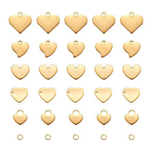 Beadthoven - 30 colgantes de acero inoxidable con diseño de corazón y grabado con 30 anillos abiertos para joyería, manualidades, para hacer etiquetas de identificación, color dorado