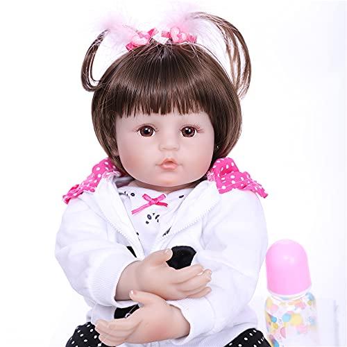 ZIYIUI Muñecas Bebe Reborn Niña Realista Vinilo Silicona Pelo Largo Muñecos Reborn Baby Dolls Chica Niños Juguetes Panda Outfit 20 Pulgadas