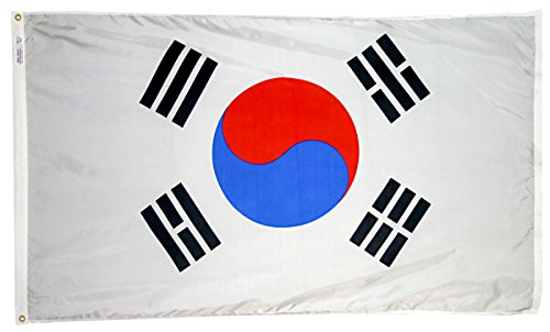 Annin Flagmakers Model 197606 South Korea Flag 3x5 ft. Nylon SolarGuard Nyl-Glo 100% Made in USA to Official United Nations Design Specifications.
