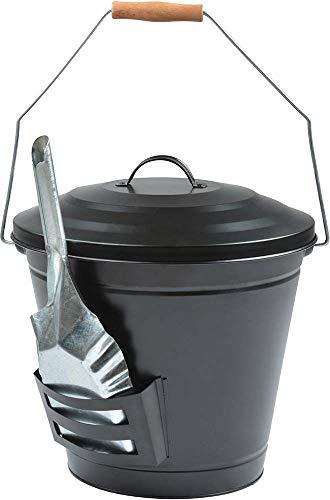 Esschert Design ff288 Ascheneimer mit Schaufel, schwarz