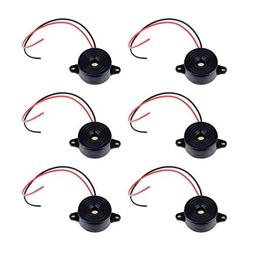 SJUNJIE 6 Piezas Zumbador Electrónico DC 3-24 V 85dB Industrial Piezo Alarma Activa Zumbador Piezoeléctrico Alarma Sonido Continuo