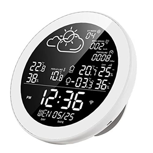 FHISD Estación meteorológica Wi-Fi, Wireless Cubierta al Aire Libre termómetro higrómetro Digital con 3 sensores al Aire Libre, Estación meteorológica Previsión con luz de Fondo