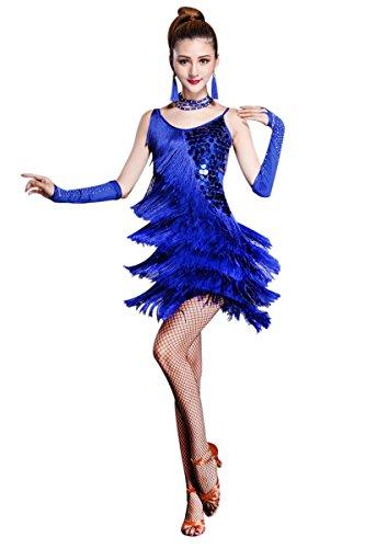 ZX Damen Salsa Latein Tanzkleid Pailletten Fransen Riemen Rückenfrei Partykleid Ballsaal Tanzen 5 Stück Outfits - Blau - Groß