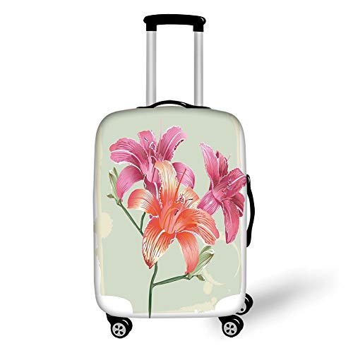 Travel Luggage Cover Suitcase Protector,Vintage Floral,Lily Flowers on Grunge Backdrop Gardening Plants Growth Botany,Pale Green Salmon Pink,for TravelM 23.6x31.8Inch