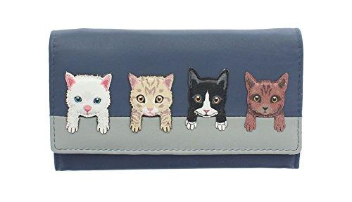 Mala Leder Kollektion Best Friends, Geldbörse Geldbeutel, Katzen auf der Mauer 3417_65 Marineblau