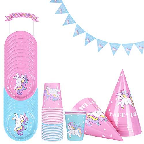 LegendTech Fête de la Licorne, 52 Pièces Ensemble de Fête Licorne Inclure Tasses Plaques Chapeaux Bannière Topper de Gâteau Jetable Inodore - Fête d'anniversaire Soirée à Thème Rose Bleu