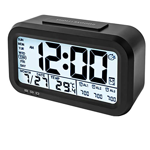 """WinFong Digital Alarm Clock with Micro USB Charging Port,4.3"""" Large Display Travel Alarm Clock with 3 Alarms Optional, Digital Clocks for Bedrooms with Time/Date/Temperature/Soft Light/Snooze (Black)"""