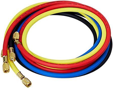 LICHAMP 4 Pieces Standard AC Manifold Gauge Hose Kit Fits R134A R410A R404A R12 R22 R502 R1234YF product image