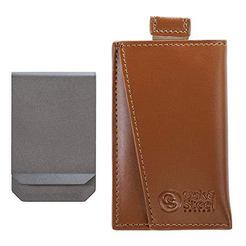 RFID Cartera de Tarjeta de Cuero Genuino - con Clip para Billetes, Pinzas de Dinero Extraíble - Soporte de Tarjeta de Crédito Antirrobo - Bloqueo Seguridad RFID- Regalo Navidad Hombres| Caja Regalo