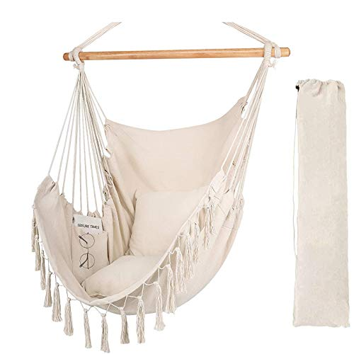 Hanging Chair-Max 330 Lbs.Large Hammock Chair with 2 Cushions and Side Pockets- Hammock Chair with Stand Macrame Hanging Rope Swing for Patio Bedroom