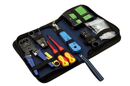 tsnetworks 9 in 1 Hobby-Profi Netzwerk Werkzeug Set, Netzwerktasche, Netzwerktester, LSA Werkzeug, Netzwerkstecker