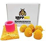 HappBee Set zum Bienenwachskerzen gießen komplett mit Silikonform, Dochten und 200 g reinem...