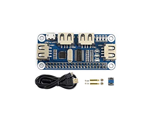 Waveshare 4 Port USB HUB Hubs Hat Compatible with USB2.0 1.1 for RPi Raspberry Pi Zero A+ B B+ 2 3 Model B Serial Debugging Onboard USB to UART