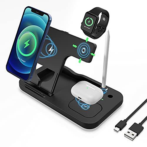 Cargador Inalámbrico Rápido,4 en 1 Inalámbrica Soportes Qi-Enabled de Carga para Apple Watch Airpods Pro Pencil iPhone 12 11   11pro   X XS XR XS MAX   8 Plus, Samsung Galaxy S20