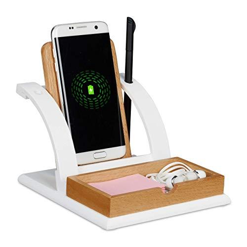 Relaxdays Induktions Ladegerät Holz, Ablage & Stiftehalter, Wireless Charger für kabelloses Laden, universal, weiß/braun