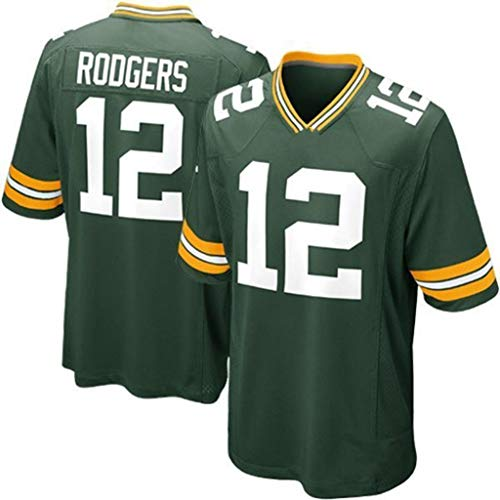cjbaok NFL Jersey Green Bay Packers Trikots Fan Edition Stickerei T-Shirt Kurzarm Sport Top,A-12,XXXL