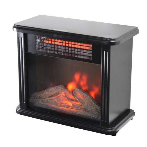 Comfort Zone CZFP20M 350/700 Watt 2 Heat Setting Infrared Desktop Fireplace Heater, Black