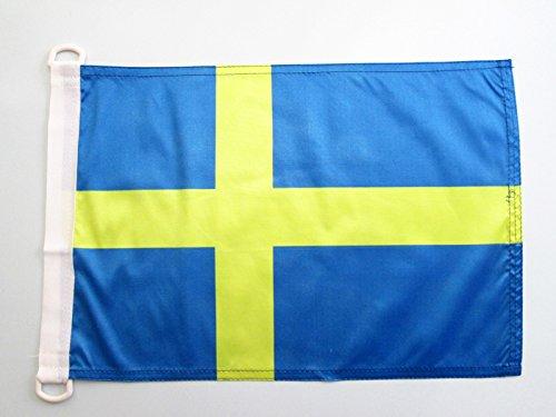 AZ FLAG Bandera Nautica de Suecia 45x30cm - Pabellón de conveniencia Sueca 30 x 45 cm Anillos
