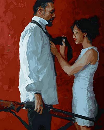 yyyaa Rahmenloses DIY Ölgemälde Ölgemälde nach Zahlen Figur Gemälde nach Zahlen für Wohnkultur Krawatte 40x50cm Charakterporträtmalerei