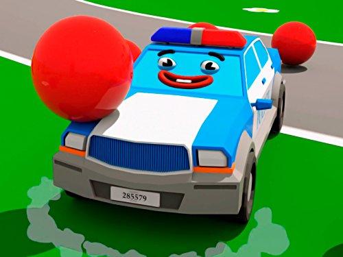 Lernfarben mit blauem Polizeiauto