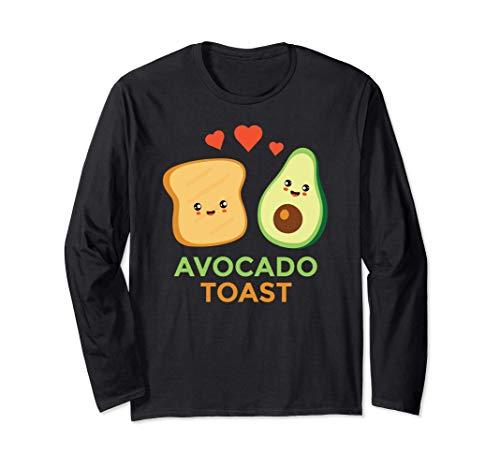 アボカドトースト かわいい顔カワイイ系ギフト 長袖Tシャツ
