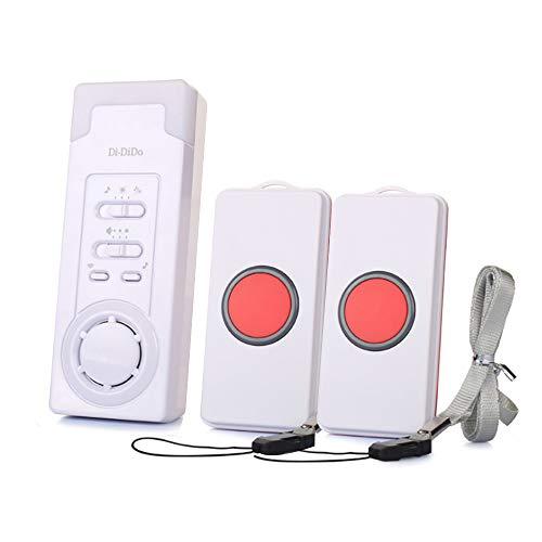 KIKILIVE Hausnotruf mit Funk-Notruf,Haus Wireless Mobiler Alarm Notruf Knopf Hausnotruf Panikalarm Funkalarm für die Pflege von Senioren, Altenpflege und Krankenpflege(1 in 2 Oder 2 in 1)