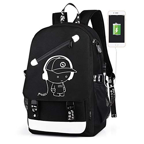 Outdoor Sports Backpack Kids School Bag Anime Luminous Laptop Rucksack Daypack with USB Cable Shoulder Bag for Teens Boys Girls (Black Music B280)