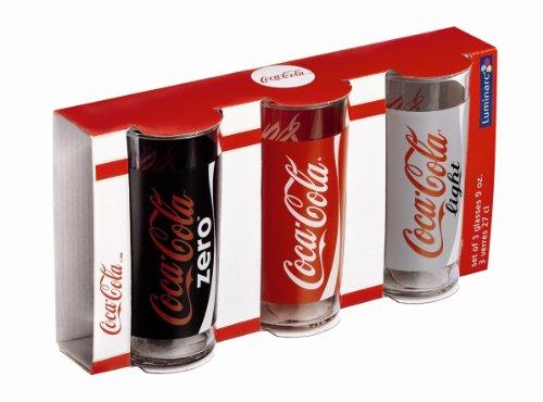 Luminarc 9298617 Gläser, 3 Stück, hoch, 300ml, Coca Cola Mix