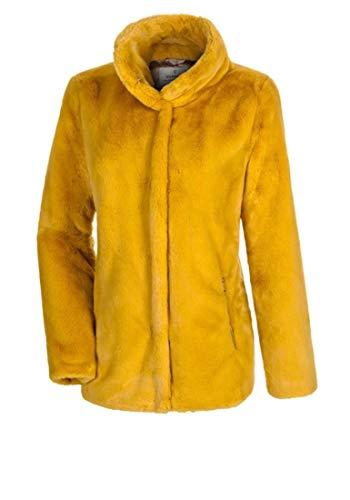 MILESTONE Eli Damen Jacke Kunstfelljacke mit Stehkragen Gelb Rot 100% Polyamid (36, Gelb)