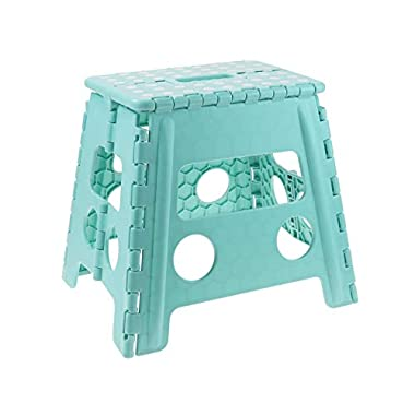 Unity 13  Non-Slip Foldable Step Stool Carrying Handle - Supports Up To 300LBS - Easy Open - Perfect Kitchen, Bathroom, Bedroom & More (Turquoise/White Dots)