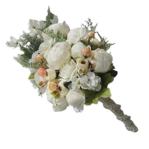 Zhangaoyo - Bouquet da sposa in stile rustico con fiori a cascata e perle finte per matrimoni, bouquet da sposa