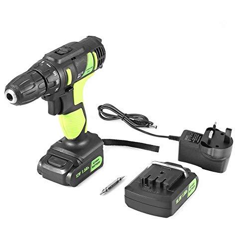 Yongenee Taladro eléctrico Recargable Profesional de Mano sin Cable eléctrico 12V Herramienta Destornillador (Enchufe UK) Herramientas