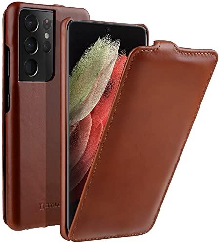 StilGut UltraSlim kompatibel mit Samsung Galaxy S21 Ultra Hülle - Samsung S21 Ultra 5G Flip Hülle aus Leder, Klapphülle, Handyhülle, Lederhülle - Cognac Antik
