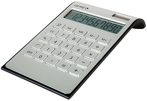Genie DD400 10-stelliger Tischrechner (Dual-Power) silber