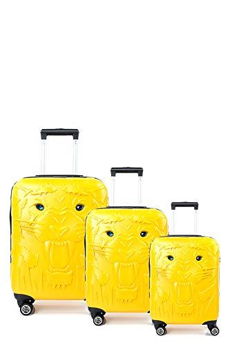 CCS Tiger 8 Wheels Model Suitcase Travel Luggage Bag Lightweight Hardcase ABS Yellow 3pcs Set