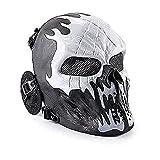 Wwman Máscara Táctica CS Airsoft de Cara Completa con Diseño de Calavera de, para Halloween, Cosplay, con Protección para Los Oídos, Fuego Fatuo