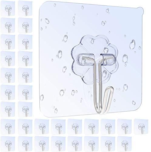 32 Stk. Haken Selbstklebend Handtuchhaken, Max 8kg Klebehaken Transparent Ohne Bohren, Badezimmer Haken für Küche Bad von Karrong