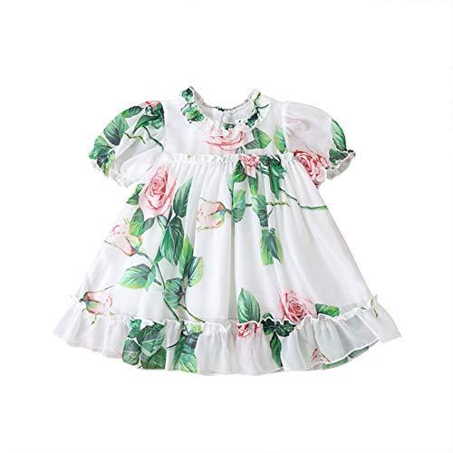 Choomomo Baby Mädchen Prinzessin Kleid Kurzarm Chiffon Kleider Sommer Blumenkleid Hochzeit Partykleid Blumenmädchenkleider Gr. 68-104 Grün 68-74