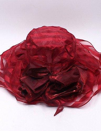 ZYT Femme Chapeau Fleur Organza Bob Capeline Chapeau de Soleil,Solide Printemps/Automne Eté Couleur Mixte, Fuchsia, One-Size