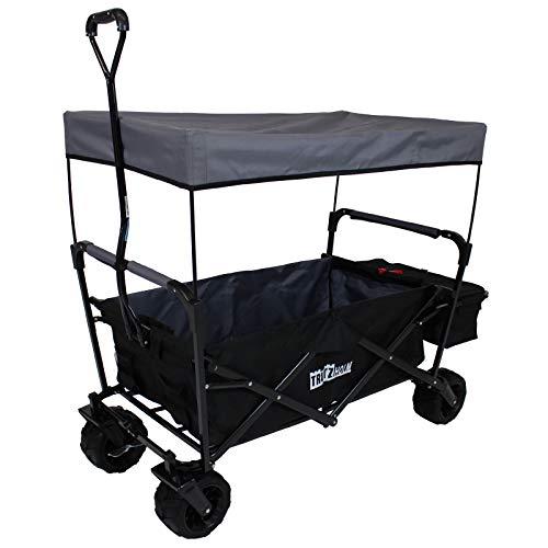 TRUTZHOLM Carrello pieghevole con tettuccio parasole, ruote larghe nero/grigio | carrello pieghevole | carrello a mano da giardino con griglia e freno di stazionamento