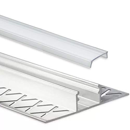 LED Fliesenprofil Alu Profil 2 Meter inkl. Abdeckung - Fliesen - Aluminium für LED Streifen bis 12mm Breite - 2000mm Länge (T Profil Fliesen - klare Abdeckung)